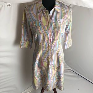 Anthropologie 100% silk patterned shirt dress